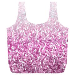 Pink Ombre Feather Pattern, White, Full Print Recycle Bag (xl) by Zandiepants