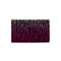 Pink Ombre Feather Pattern, Black, Cosmetic Bag (xs) by Zandiepants