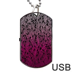 Pink Ombre Feather Pattern, Black, Dog Tag Usb Flash (one Side) by Zandiepants