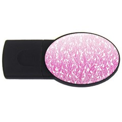 Pink Ombre Feather Pattern, White, Usb Flash Drive Oval (4 Gb) by Zandiepants