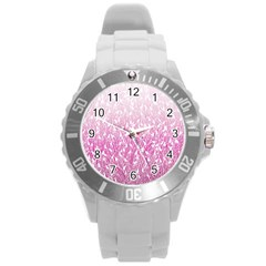 Pink Ombre Feather Pattern, White, Round Plastic Sport Watch (l) by Zandiepants