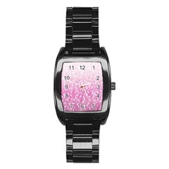 Pink Ombre Feather Pattern, White, Stainless Steel Barrel Watch by Zandiepants