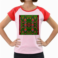 Orchid Forest Filled Of Big Flowers And Chevron Women s Cap Sleeve T Shirt by pepitasart