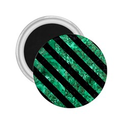 Stripes3 Black Marble & Green Marble (r) 2 25  Magnet by trendistuff