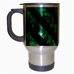 Stripes3 Black Marble & Green Marble (r) Travel Mug (silver Gray)
