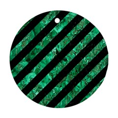 Stripes3 Black Marble & Green Marble Ornament (round) by trendistuff