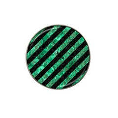Stripes3 Black Marble & Green Marble Hat Clip Ball Marker by trendistuff