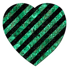 Stripes3 Black Marble & Green Marble Jigsaw Puzzle (heart) by trendistuff
