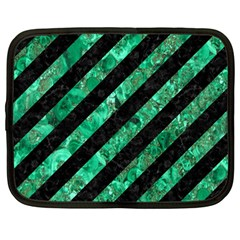 Stripes3 Black Marble & Green Marble Netbook Case (large) by trendistuff