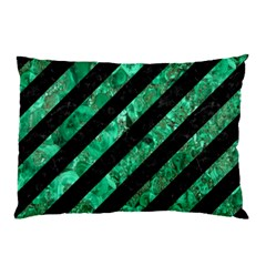 Stripes3 Black Marble & Green Marble Pillow Case by trendistuff