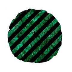 Stripes3 Black Marble & Green Marble Standard 15  Premium Flano Round Cushion  by trendistuff