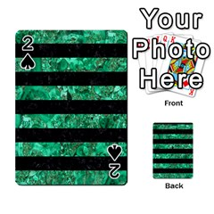 Stripes2 Black Marble & Green Marble Playing Cards 54 Designs
