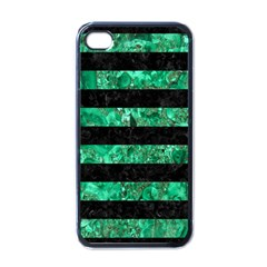 Stripes2 Black Marble & Green Marble Apple Iphone 4 Case (black) by trendistuff