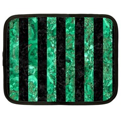 Stripes1 Black Marble & Green Marble Netbook Case (xxl) by trendistuff