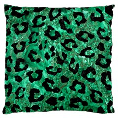 Skin5 Black Marble & Green Marble Large Flano Cushion Case (one Side)