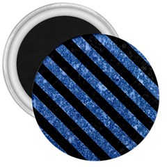 Stripes3 Black Marble & Blue Marble (r) 3  Magnet by trendistuff