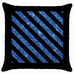 Stripes3 Black Marble & Blue Marble (r) Throw Pillow Case (black) by trendistuff