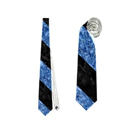 Stripes3 Black Marble & Blue Marble (r) Necktie (one Side) by trendistuff