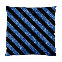 Stripes3 Black Marble & Blue Marble (r) Standard Cushion Case (one Side) by trendistuff