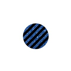 Stripes3 Black Marble & Blue Marble 1  Mini Button by trendistuff