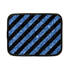 Stripes3 Black Marble & Blue Marble Netbook Case (small) by trendistuff