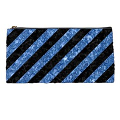 Stripes3 Black Marble & Blue Marble Pencil Case by trendistuff