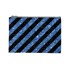 Stripes3 Black Marble & Blue Marble Cosmetic Bag (large) by trendistuff