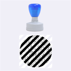 Stripes3 Black Marble & Blue Marble Rubber Stamp Round (medium) by trendistuff