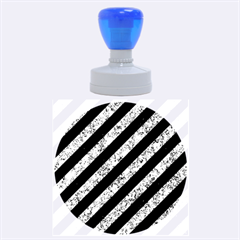 Stripes3 Black Marble & Blue Marble Rubber Stamp Round (large) by trendistuff