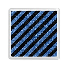 Stripes3 Black Marble & Blue Marble Memory Card Reader (square) by trendistuff