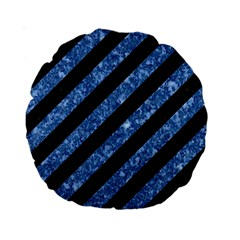 Stripes3 Black Marble & Blue Marble Standard 15  Premium Round Cushion