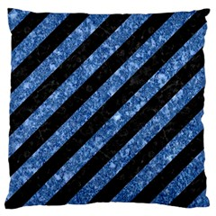 Stripes3 Black Marble & Blue Marble Large Flano Cushion Case (two Sides) by trendistuff