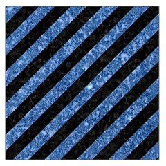 Stripes3 Black Marble & Blue Marble Large Satin Scarf (square) by trendistuff