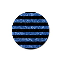 Stripes2 Black Marble & Blue Marble Rubber Coaster (round) by trendistuff