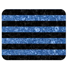 Stripes2 Black Marble & Blue Marble Double Sided Flano Blanket (medium) by trendistuff
