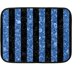 Stripes1 Black Marble & Blue Marble Double Sided Fleece Blanket (mini) by trendistuff
