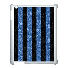 Stripes1 Black Marble & Blue Marble Apple Ipad 3/4 Case (white) by trendistuff