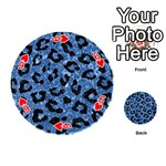 SKIN5 BLACK MARBLE & BLUE MARBLE Playing Cards 54 (Round) Front - Heart6