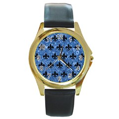 Royal1 Black Marble & Blue Marble Round Gold Metal Watch by trendistuff
