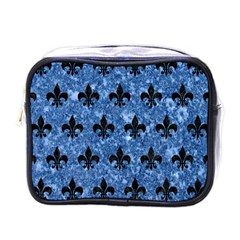 Royal1 Black Marble & Blue Marble Mini Toiletries Bag (one Side) by trendistuff