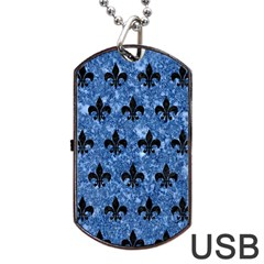 Royal1 Black Marble & Blue Marble Dog Tag Usb Flash (two Sides) by trendistuff