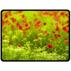 Poppy I Double Sided Fleece Blanket (large)  by colorfulartwork