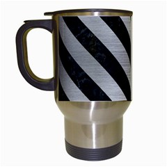 Stripes3 Black Marble & Silver Brushed Metal (r) Travel Mug (white) by trendistuff