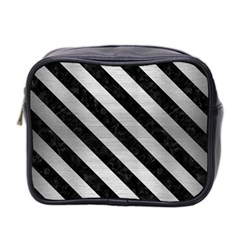 Stripes3 Black Marble & Silver Brushed Metal (r) Mini Toiletries Bag (two Sides) by trendistuff