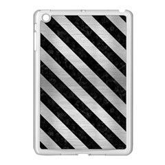 Stripes3 Black Marble & Silver Brushed Metal (r) Apple Ipad Mini Case (white) by trendistuff