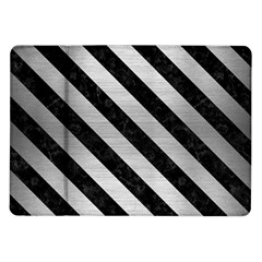 Stripes3 Black Marble & Silver Brushed Metal (r) Samsung Galaxy Tab 10 1  P7500 Flip Case by trendistuff