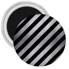 Stripes3 Black Marble & Silver Brushed Metal 3  Magnet by trendistuff