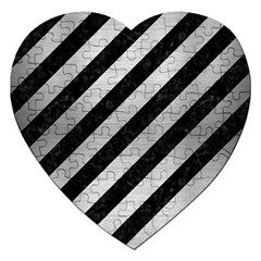 Stripes3 Black Marble & Silver Brushed Metal Jigsaw Puzzle (heart) by trendistuff