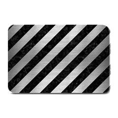 Stripes3 Black Marble & Silver Brushed Metal Plate Mat by trendistuff