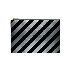 Stripes3 Black Marble & Silver Brushed Metal Cosmetic Bag (medium) by trendistuff